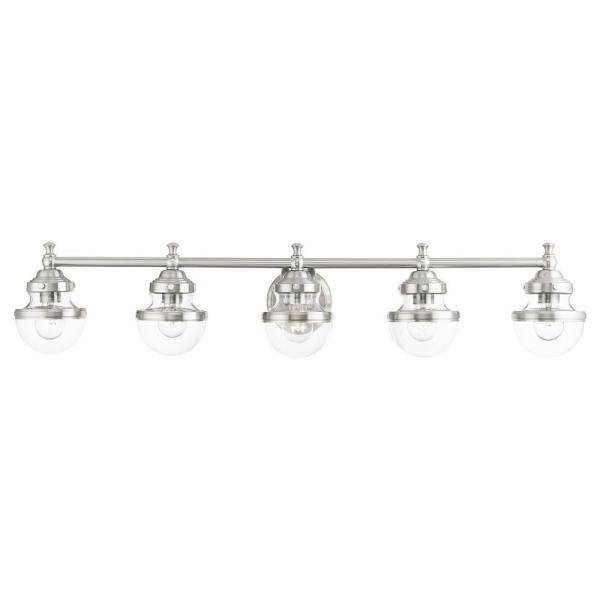 Oldwick 5.125 in. 5-Light Brushed Nickel Vanity Light with Clear Glass Shades