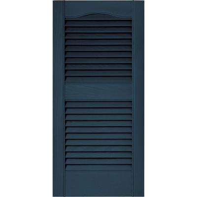 15 in. x 31 in. Louvered Vinyl Exterior Shutters Pair in #036 Classic Blue
