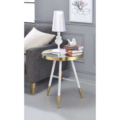 Mazon White with Antique Brass Mirrored Circular End Table