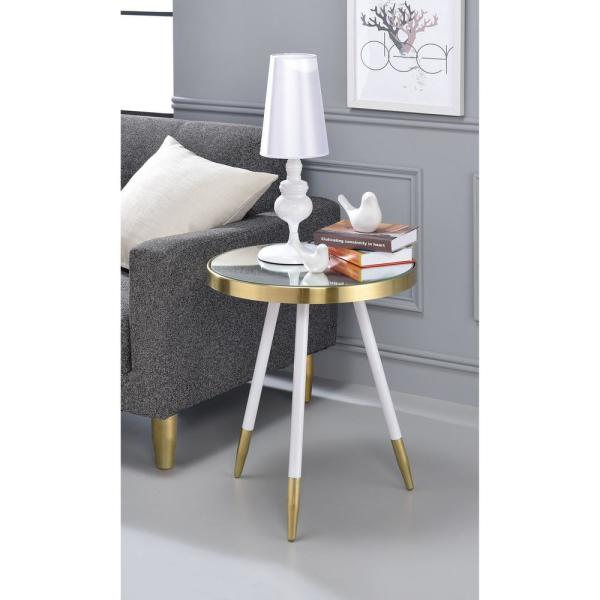 Venetian Worldwide Mazon White with Antique Brass Mirrored Circular End Table