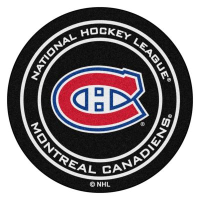 Montreal Canadiens Black 27 in. Round Hockey Puck Mat