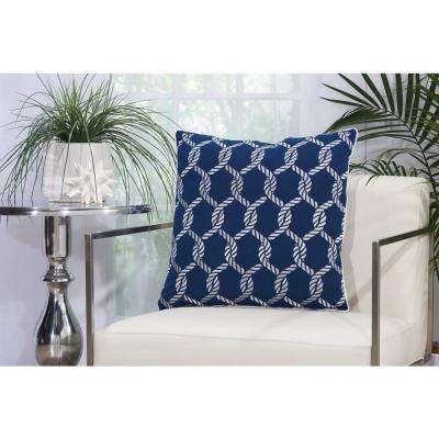 Woven Ropes 20 in. x 20 in. Navy and White Indoor and Outdoor Pillow