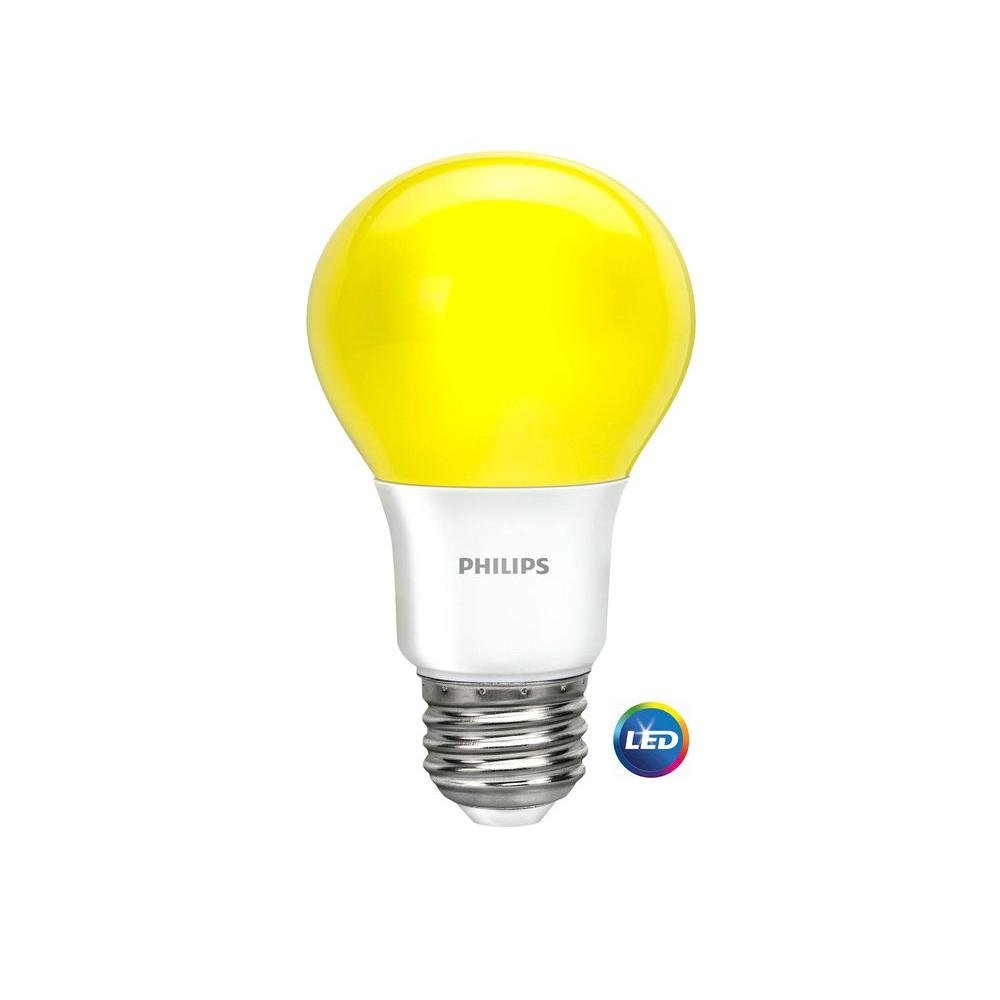 60 Watt Equivalent A19 Non Dimmable Yellow LED Bug Light Bulb
