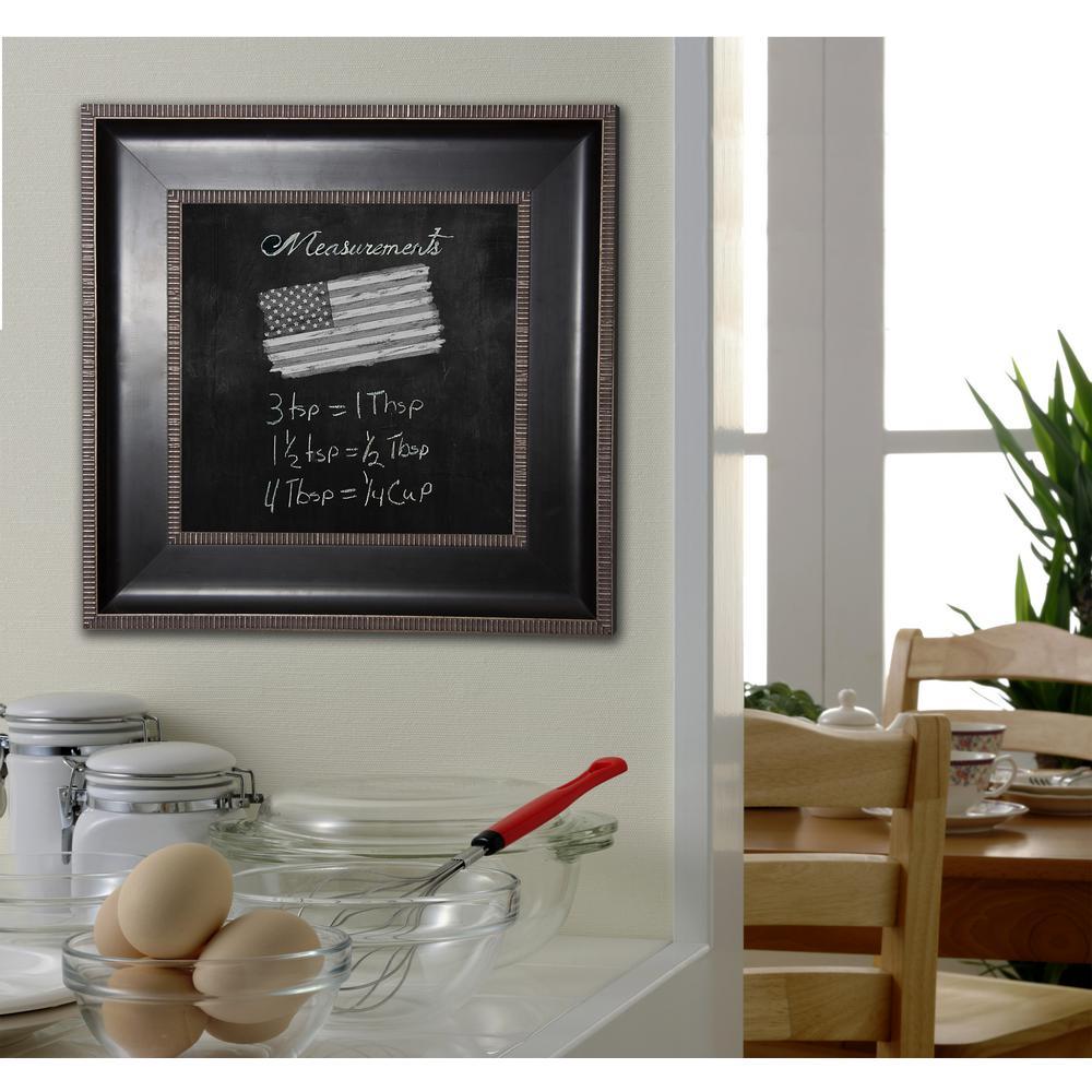 38.25 inch x 38.25 inch Black with Silver Caged Trim Blackboard/Chalkboard