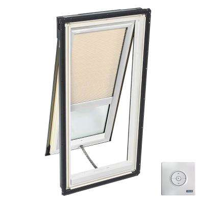 21 in. x 54.44 in. Solar Powered Venting Deck-Mount Skylight, Laminated LowE3 Glass, Classic Sand Light Filtering Blind