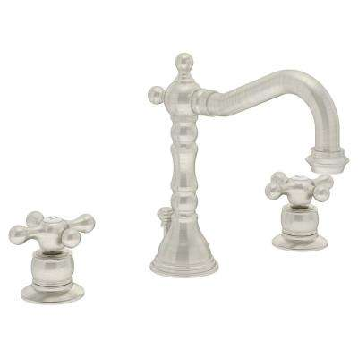 Carrington 8 in. Widespread 2-Handle Bathroom Faucet with Drain Assembly in Satin Nickel (1.5 GPM)