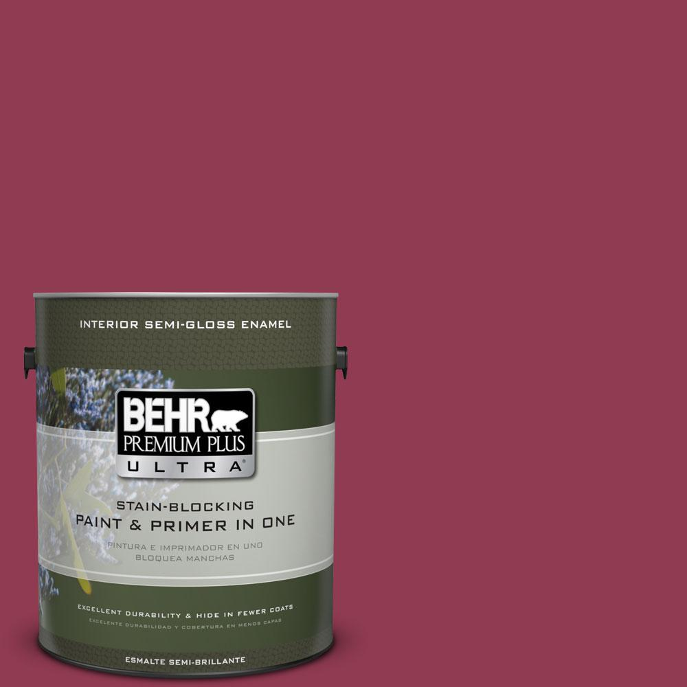 BEHR Premium Plus Ultra 1 gal. #120D-6 Cranberry Splash Semi-Gloss Enamel Interior Paint and Primer in One
