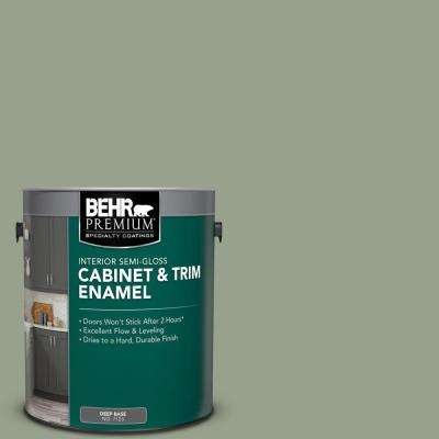 1 gal. #N390-4 Bitter Sage Semi-Gloss Enamel Interior Cabinet and Trim Paint