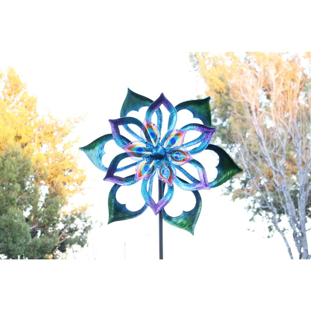 96 in. Double-Sided Flower Spinning Garden Stake