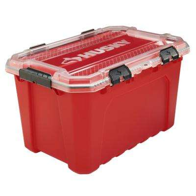 20 Gal. Professional Grade Heavy-Duty Waterproof Storage Container with Hinged Lid in Red