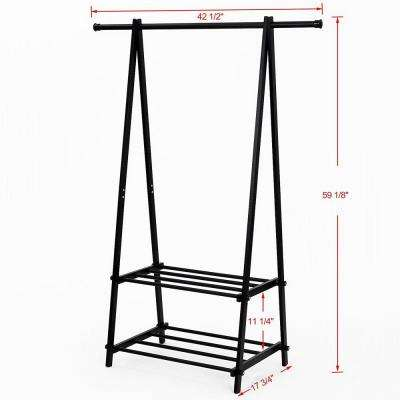 43 in. x 59 in. High Quality Thicken Black Metal Tube ABS and PP Plastic Connectors Garment Rack