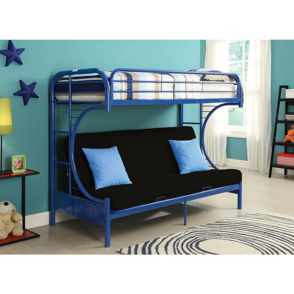 Acme Furniture Eclipse Twin Over Blue Queen Metal Bunk Bed 02093bu