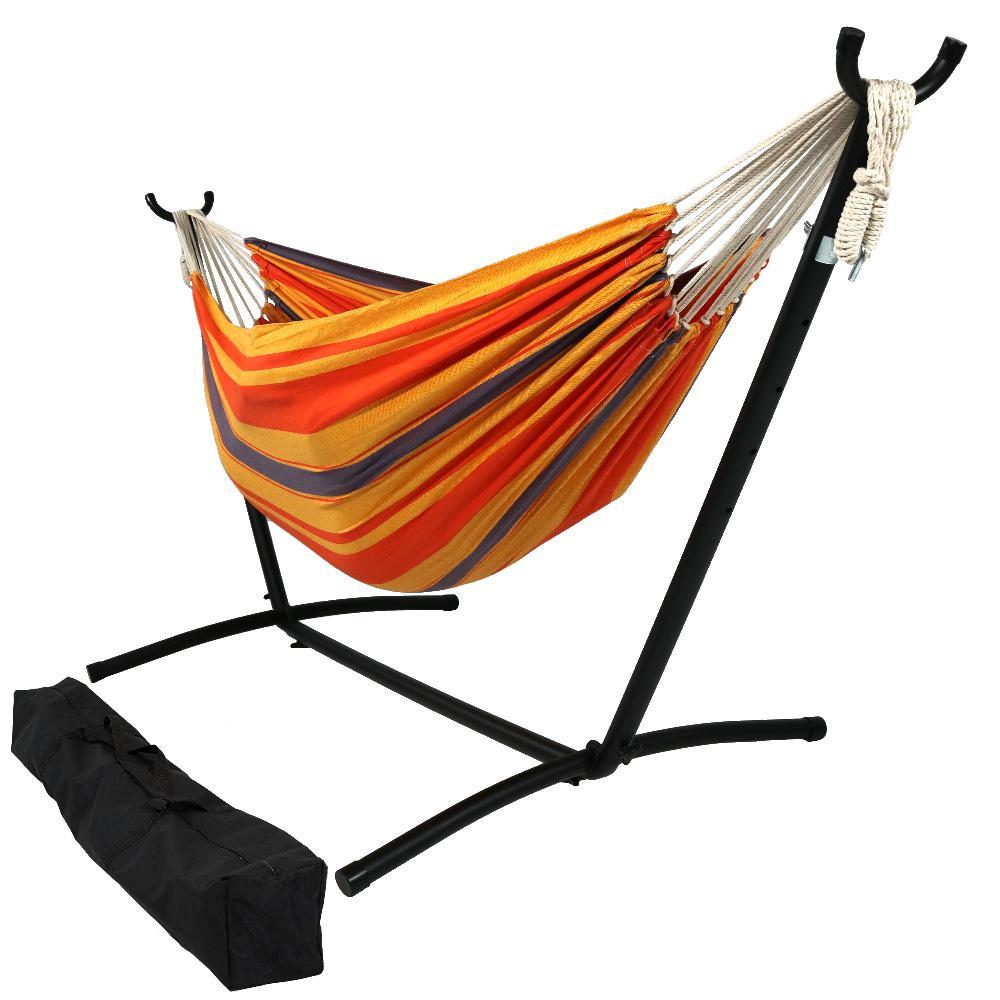 Premium 100% Cotton 10 ft. Brazilian Hammock with Stand in Summer Breeze
