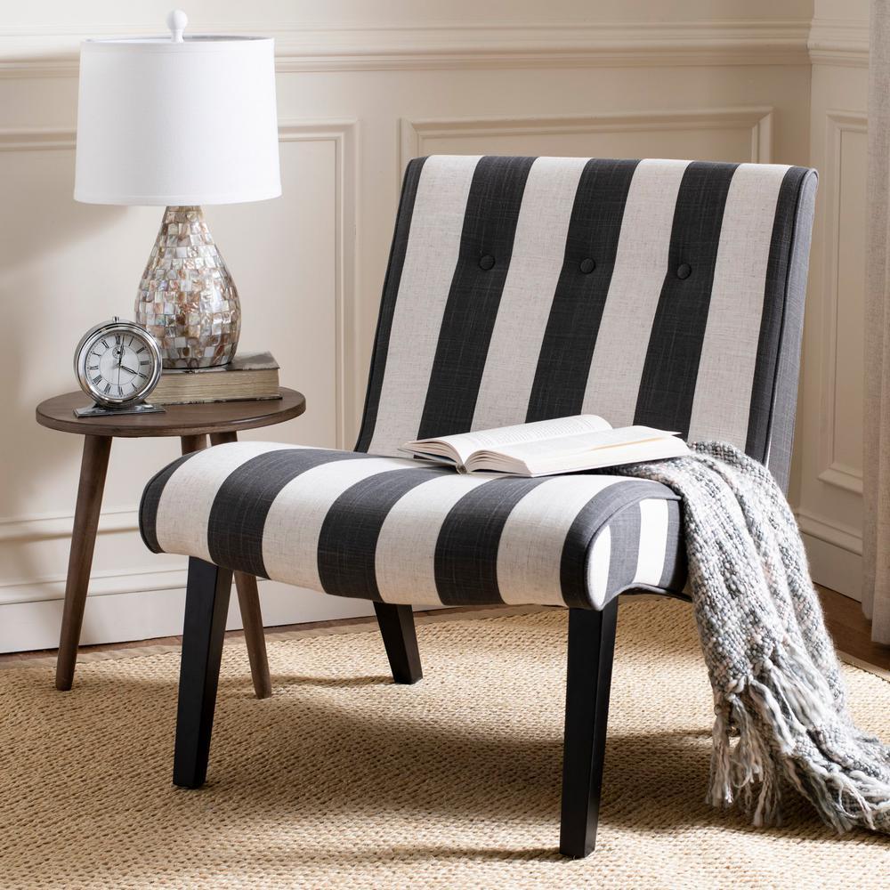 Pleasing Safavieh Black And White Polyester Accent Chair Mcr4552F Machost Co Dining Chair Design Ideas Machostcouk