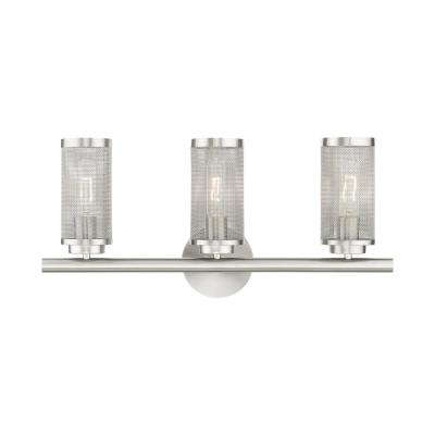 Industro 5.125 in. 3-Light Brushed Nickel Vanity Light with Stainless Steel Mesh Shades