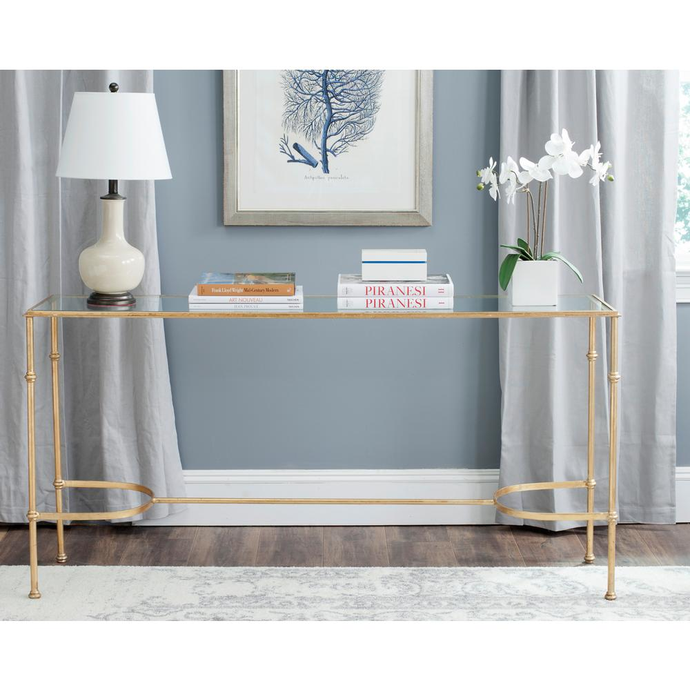 Safavieh Lucille Glass Top Gold Iron Console-FOX2548A