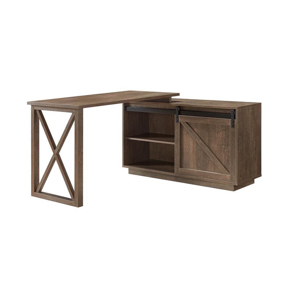 Carlie 56 in. Walnut Oak L-Shape Writing Desk With Sliding Barn Door