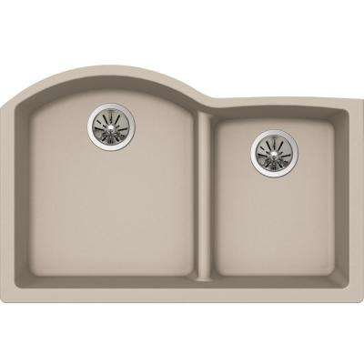 Premium Quartz Undermount Composite 33 in. Rounded Offset Double Bowl Kitchen Sink in Parchment