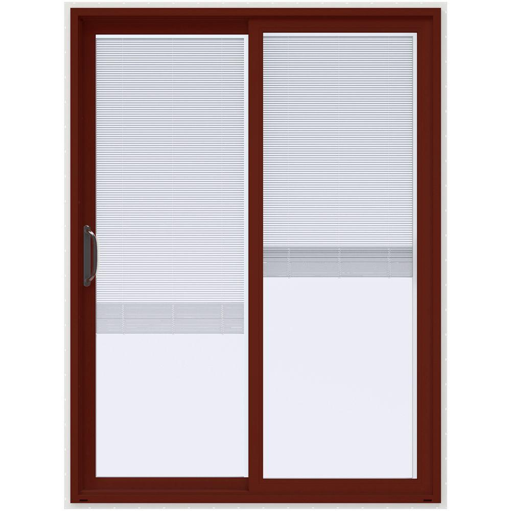Jeld wen 60 in x 80 in v 4500 mesa red prehung left hand for 60 x 80 exterior french doors