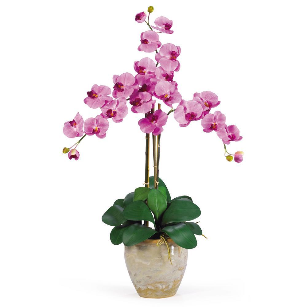 27 in. Triple Phalaenopsis Silk Orchid Flower Arrangement in Mauve