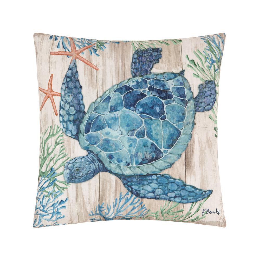 Blue Clearwater Sealife Indoor/Outdoor 18 in. x 18 in. Standard Throw Pillow