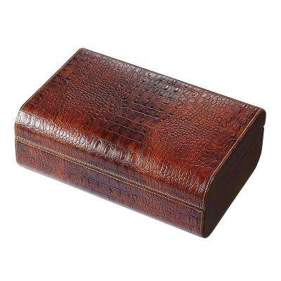 Brown Crocodile Leather Cigar Humidor