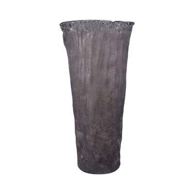 Rhea 20 in. Glass Decorative Vase in Textured Gray