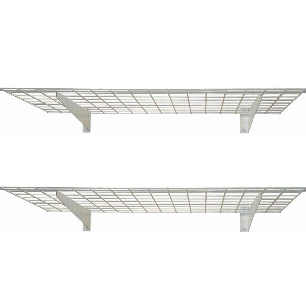 Hyloft 2 Shelf 45 In W Wire Garage Wall Storage System White Wiring Basement Walls