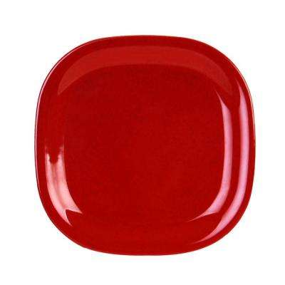 Jazz 14 in. x 14 in. Round Square Plate in Red (1-Piece)