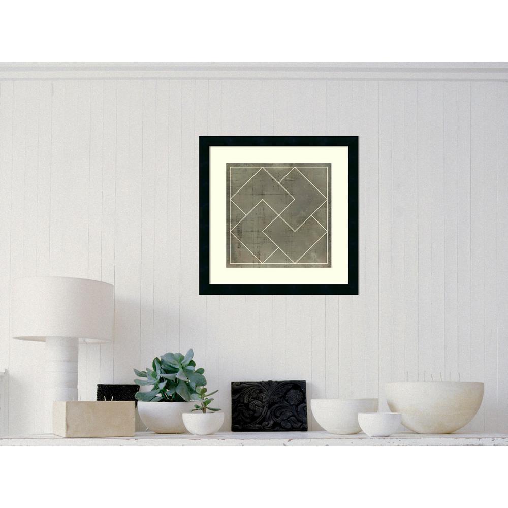 "21 in. H x 21 in. W ""Geometric Blueprint III"" by Vision Studio Framed Art Print"