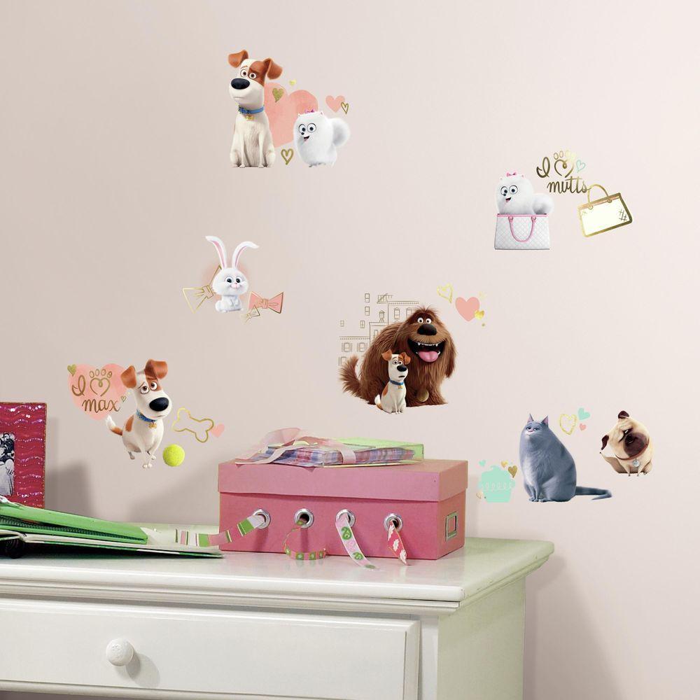 5 in. x 11.5 in. Secret Life of Pets Girls 23-Piece Peel ...
