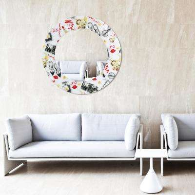 """36 in. x 36 in. """"Retro"""" Round Beveled Mirror on Free Floating Reverse Printed Tempered Art Glass"""