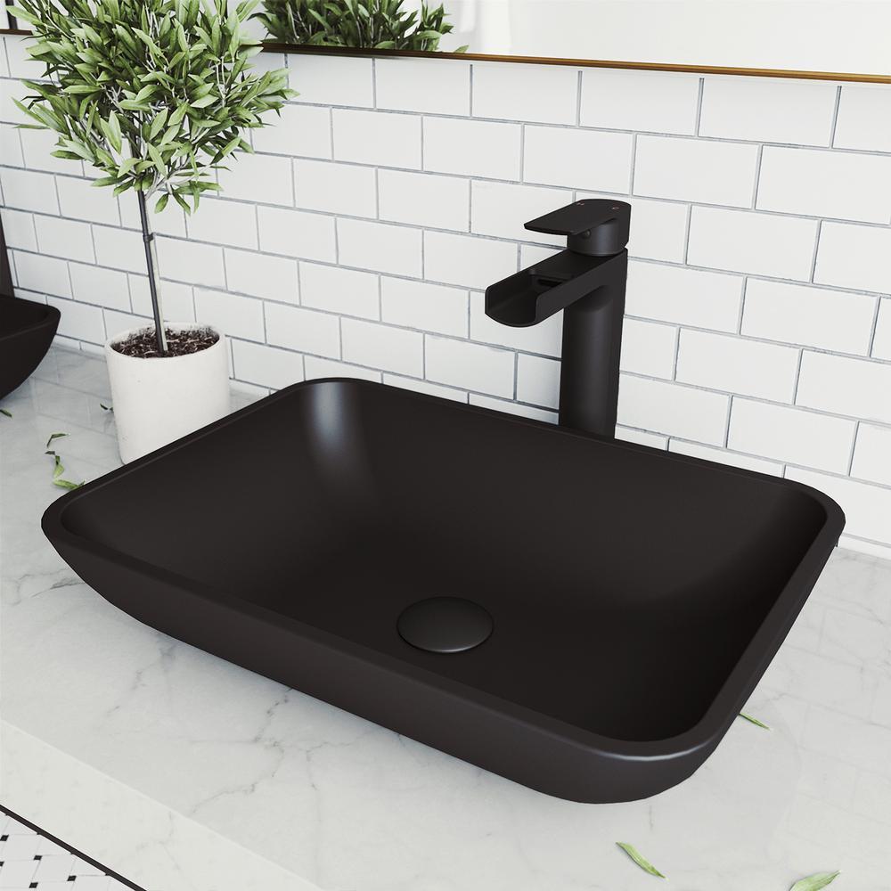 Sottile Glass Vessel Bathroom Sink in Black with Amada Faucet in Matte Black