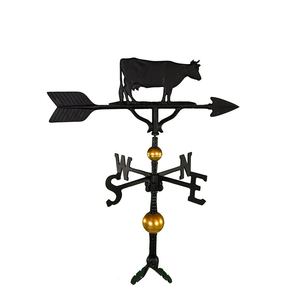 Montague Metal Products 32 in. Deluxe Black Cow Weathervane