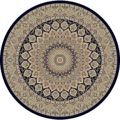 Lawrence Navy 8 ft. x 8 ft. Round Indoor Area Rug