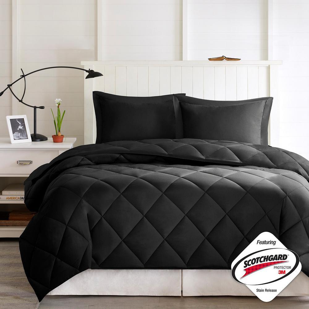 Windsor 3-Piece 3M Scotchgard Diamond Quilting Reversible Down Alternative Comforter Set