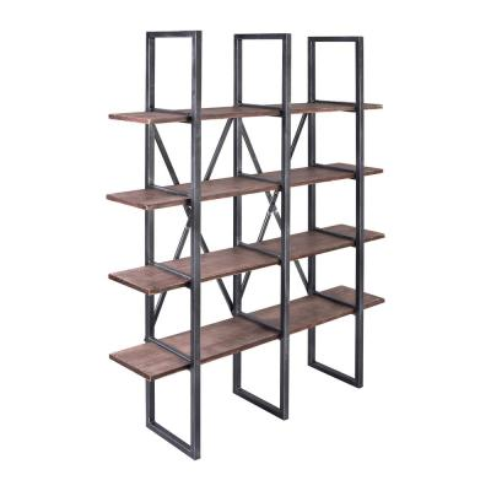 62.99 in. Rustic Pine/Black Metal 4-shelf Standard Bookcase with Open Back