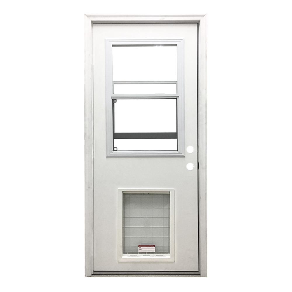 36 in. x 80 in. Classic Vented Half Lite LHIS White Primed Textured Fiberglass Prehung Front Door with SL Pet Door