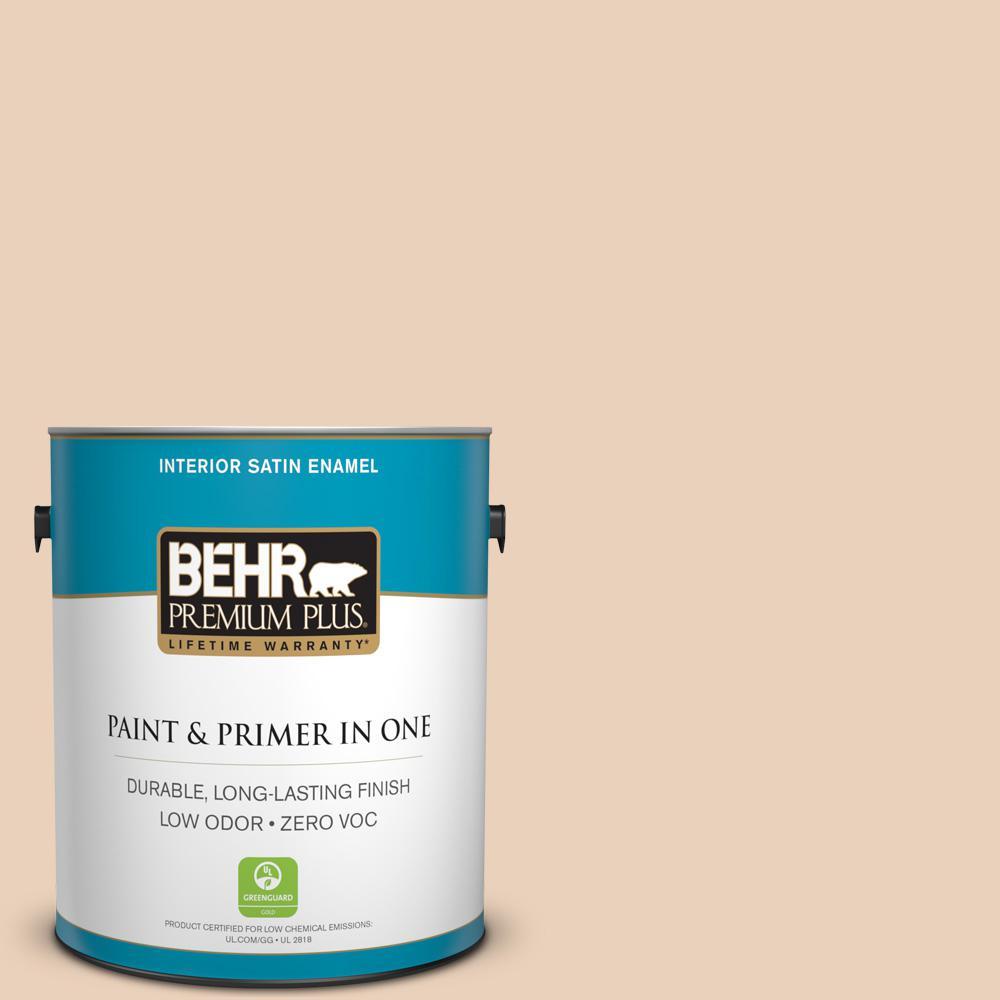 BEHR Premium Plus 1-gal. #T14-2 South Peach Satin Enamel Interior Paint