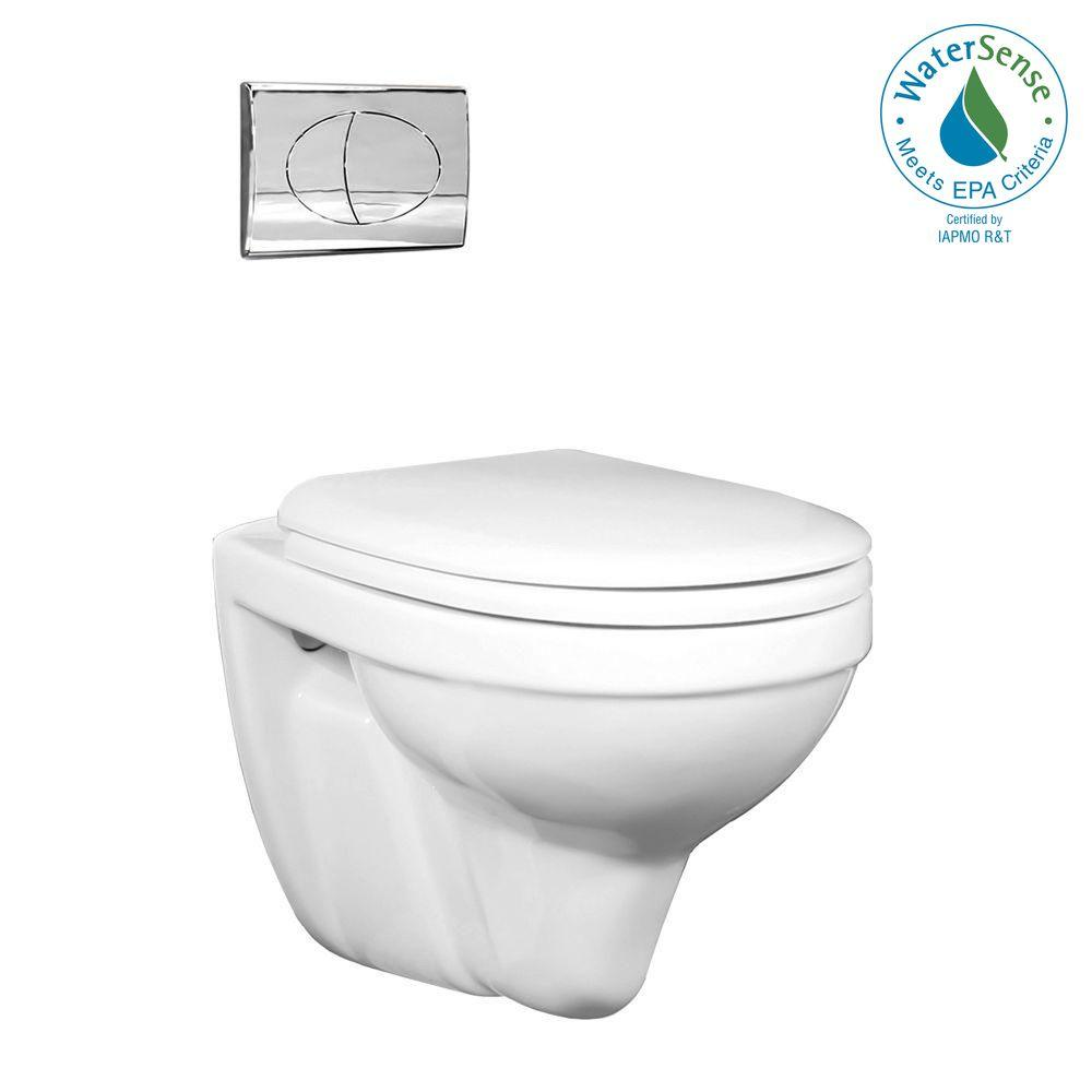 Foremost Matera Wall Hung 1-Piece 1.6 GPF Dual Flush Round Toilet in White with Chrome Activator-DISCONTINUED