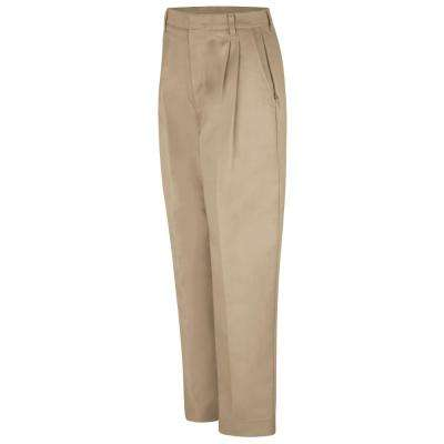Women's 4 in. x 28 in. Khaki Women's Pleated Twill Slacks