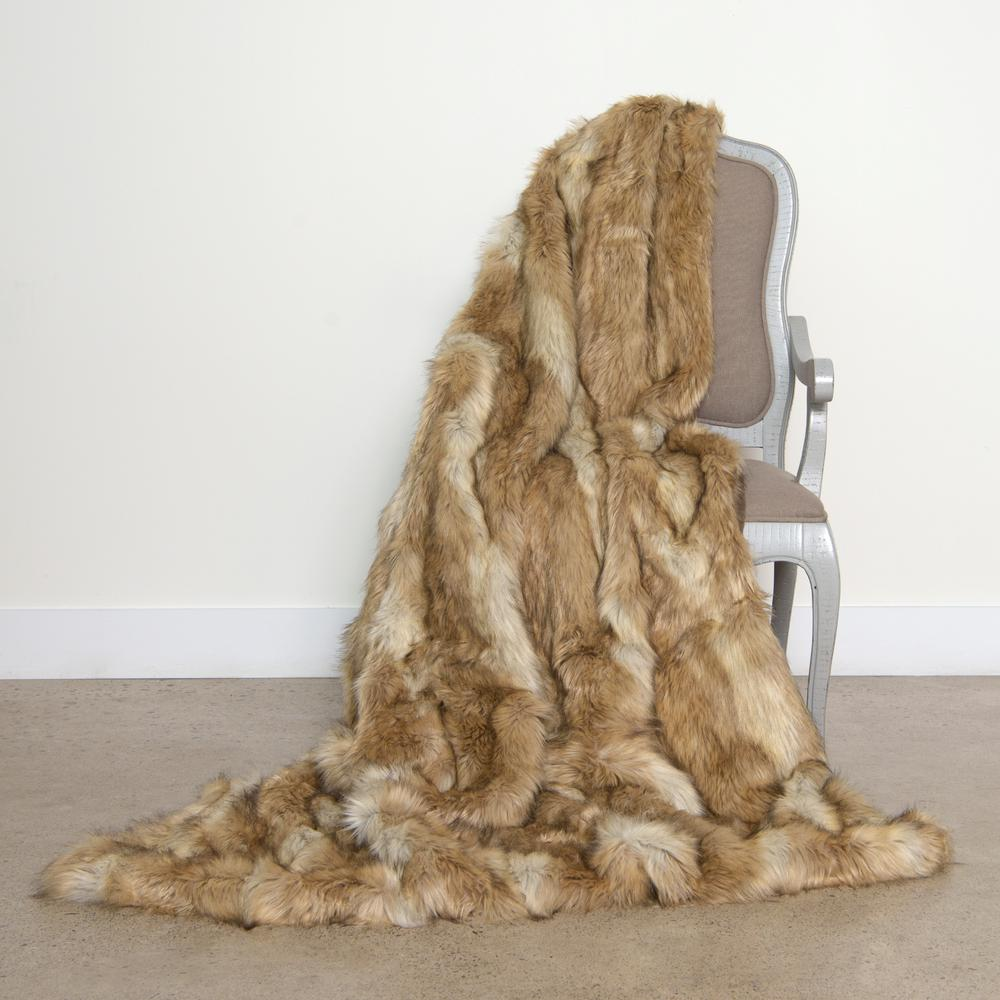 Best Home Fashion Platinum Frost Faux Fur Throw 58 In. X