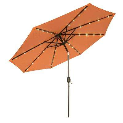 9 ft. Deluxe Solar Powered LED Lighted Patio Umbrella in Orange