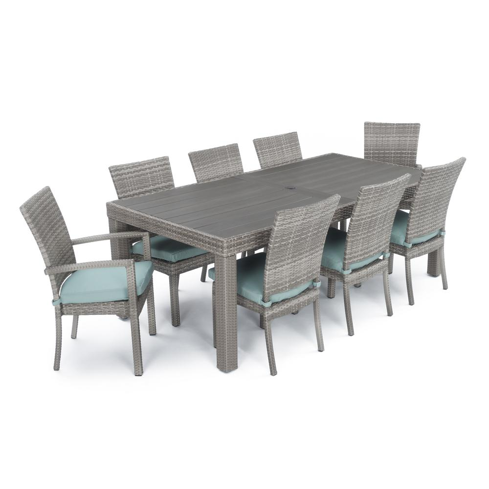 Cannes 9 piece patio woven dining set with bliss blue cushions