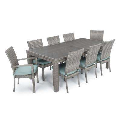 Cannes 9-Piece Patio Woven Dining Set with Bliss Blue Cushions
