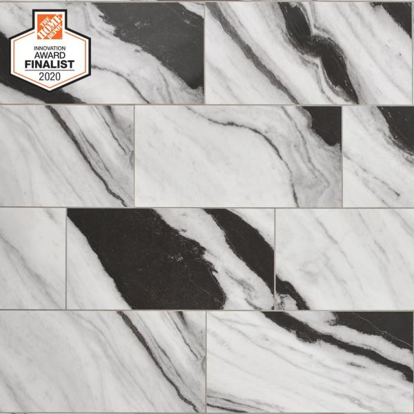 QuicTile 12 in. x 24 in. Panda Marble Polished Porcelain Locking Floor Tile (9.6 sq. ft. / case)