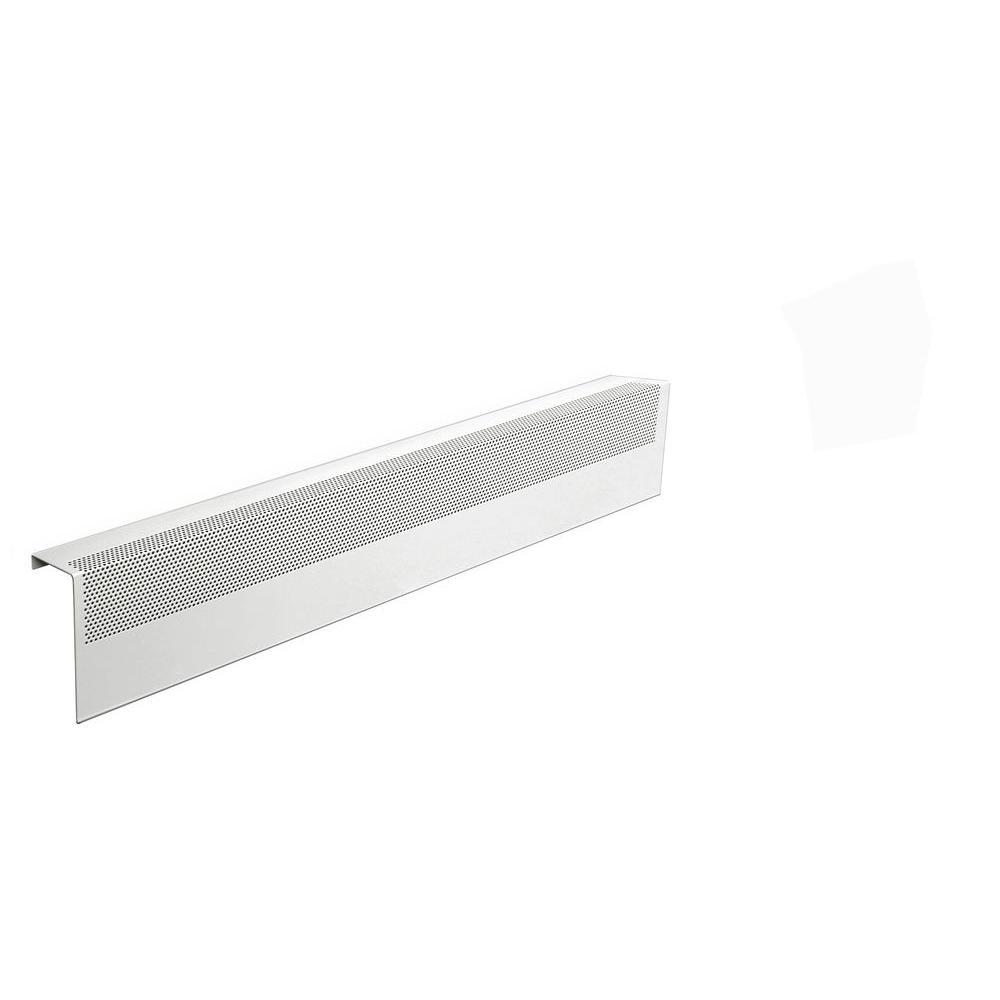Baseboarders Basic Series 3 ft. Galvanized Steel Easy Slip-On Baseboard Heater Cover in White