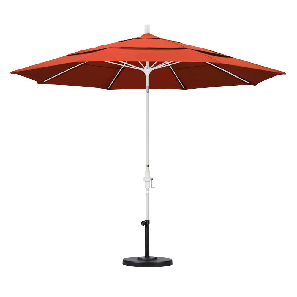 11 ft. Fiberglass Collar Tilt Double Vented Patio Umbrella in Sunset Olefin