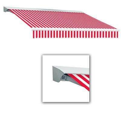 8 ft. LX-Destin with Hood Right Motor/Remote Retractable Awning (84 in. Projection) in Red/White