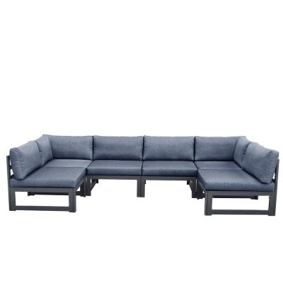 Exquisite 57 in. Dark Gray Aluminum alloy and anti-ultraviolet cloth polyester Modern 6 Seats Sofa with attached Pillows